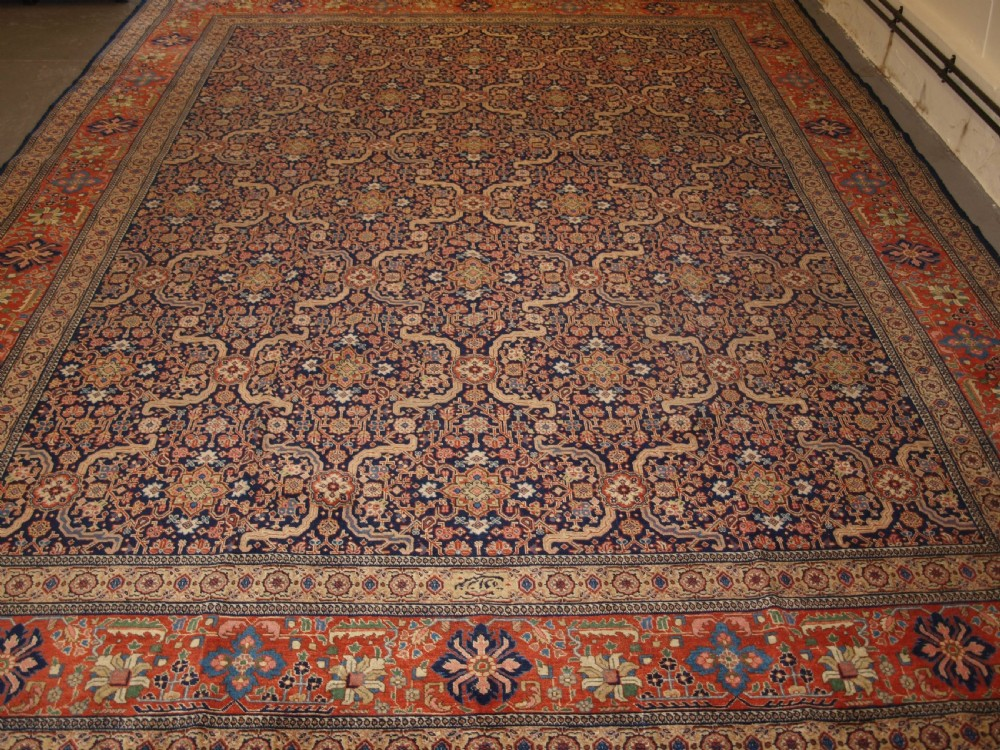 antique persian tabriz carpet elegant traditional design signed by the maker circa 1900