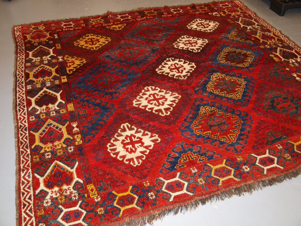 very rare small main carpet central asian kirghyz or turkmen mid 19th century or earlier