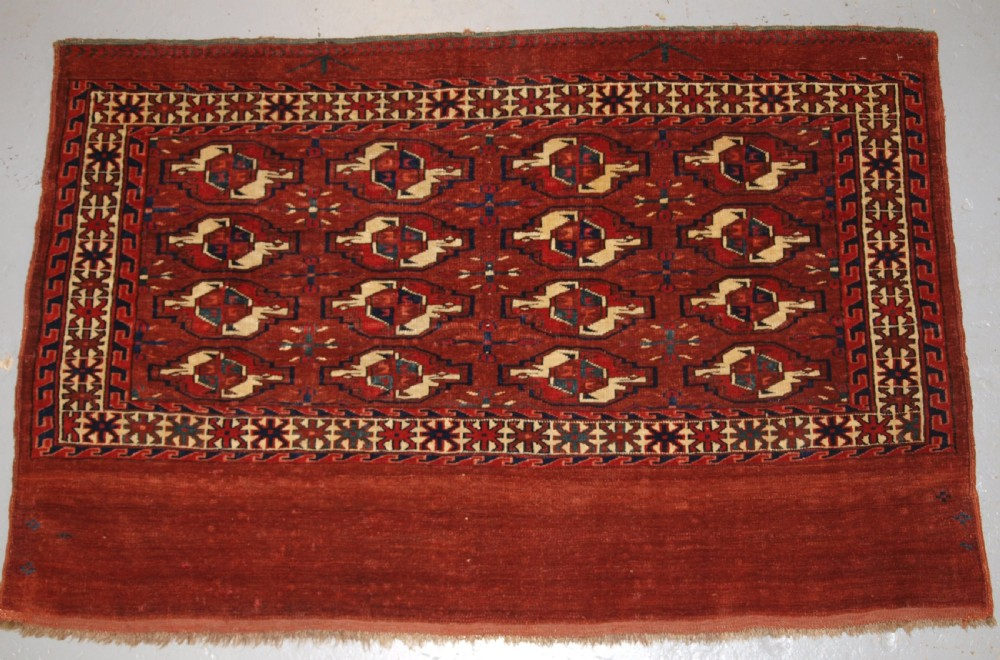 antique yomut turkmen 16 gul chuval superb colour great condition 2nd 12 19th century