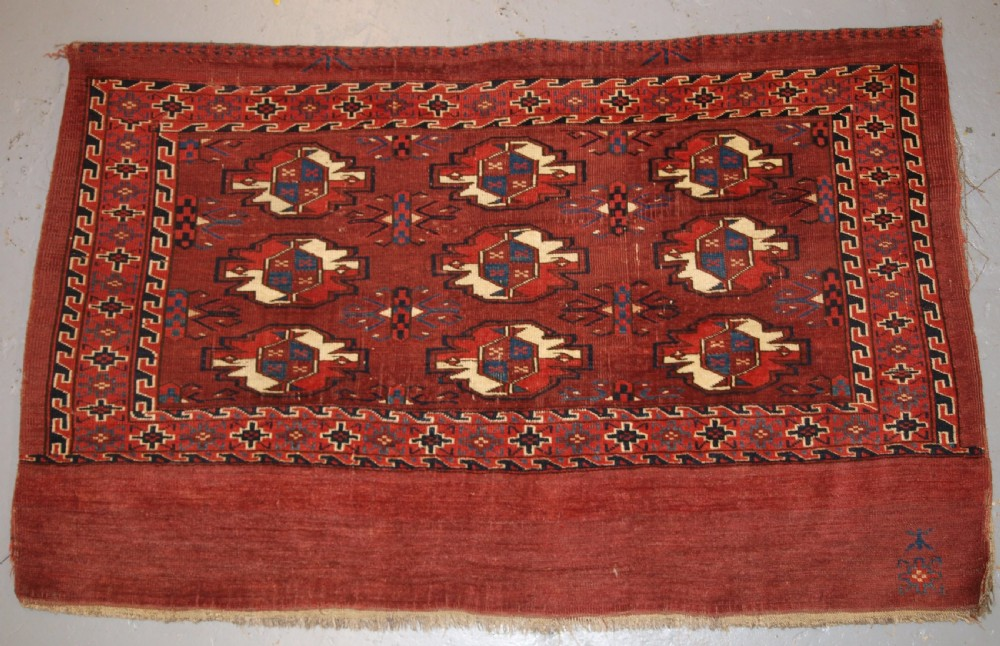 antique yomut turkmen 9 gul chuval superb colour good condition 2nd 12 19th century