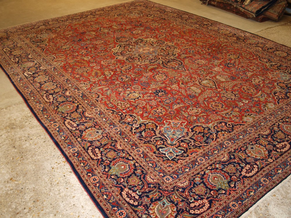 antique kashan carpet outstanding example with excellent design colour circa 1900