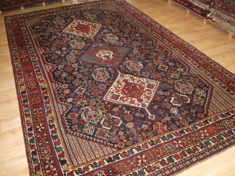 antique south west persian tribal carpet by the khamseh tribe beautiful tribal design circa 1890