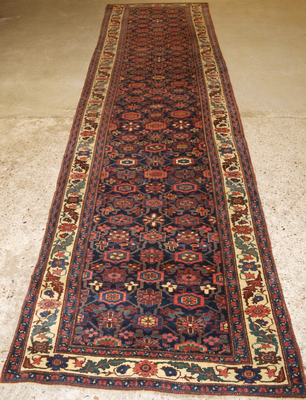 antique persian bijar runner with mina khani design beautiful border circa 1880