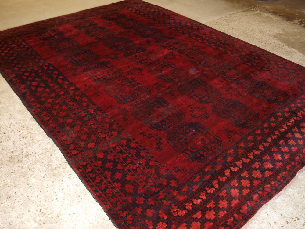 old afghan village carpet deep rich red colour great condition circa 1920