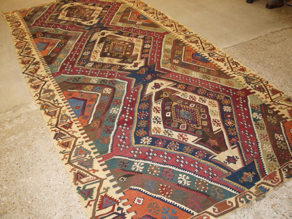 antique turkish malatya kilims outstanding colour and design late 19th century
