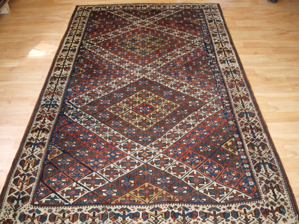 antique kurdish rug with lattice design visually striking rug circa 1900