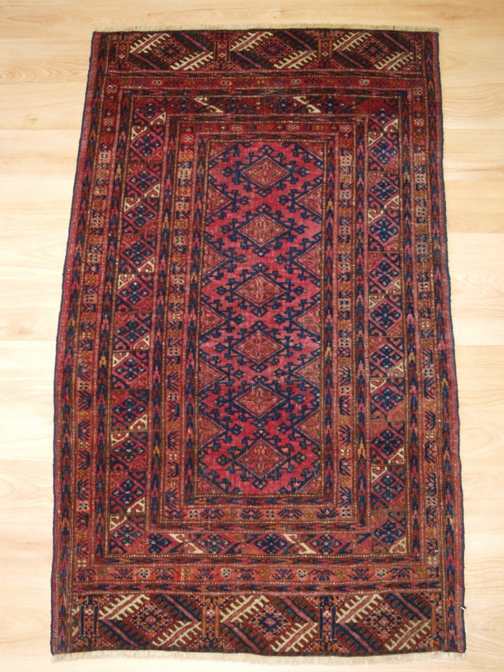 antique saryk turkmen rug of very small size cochineal dyes circa 1900