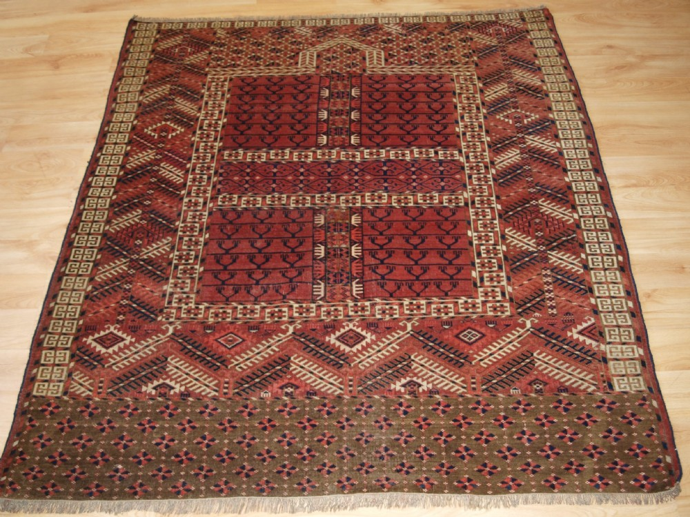 antique tekke turkmen ensi well drawn with god colour late 19th century