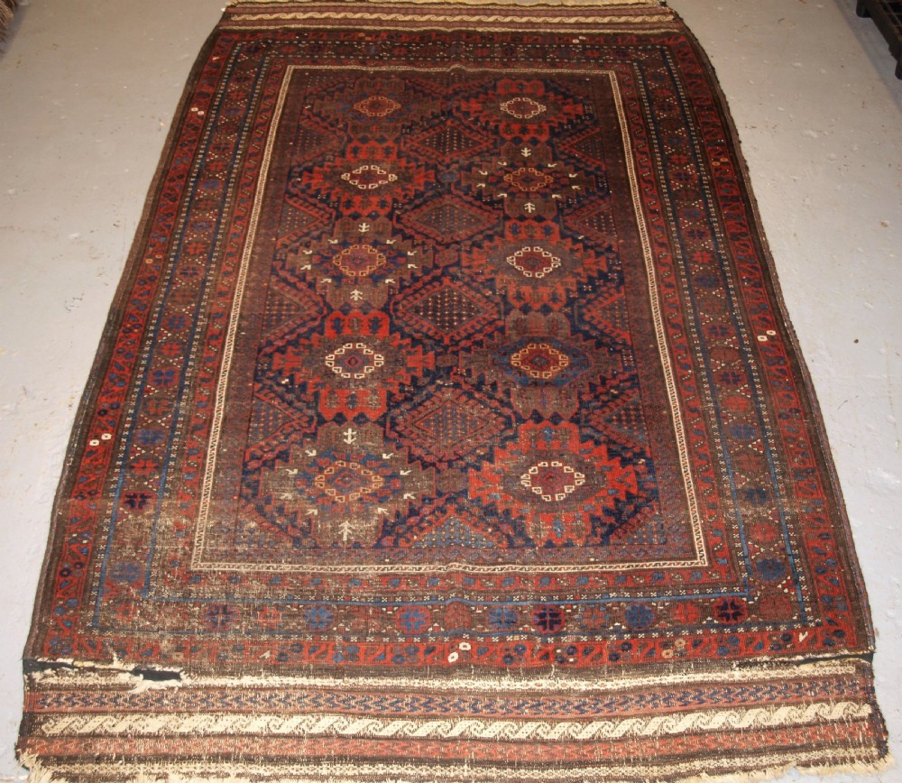 antique timuri baluch main carpet outstanding colour ex wisdom collection 2nd half 19th century