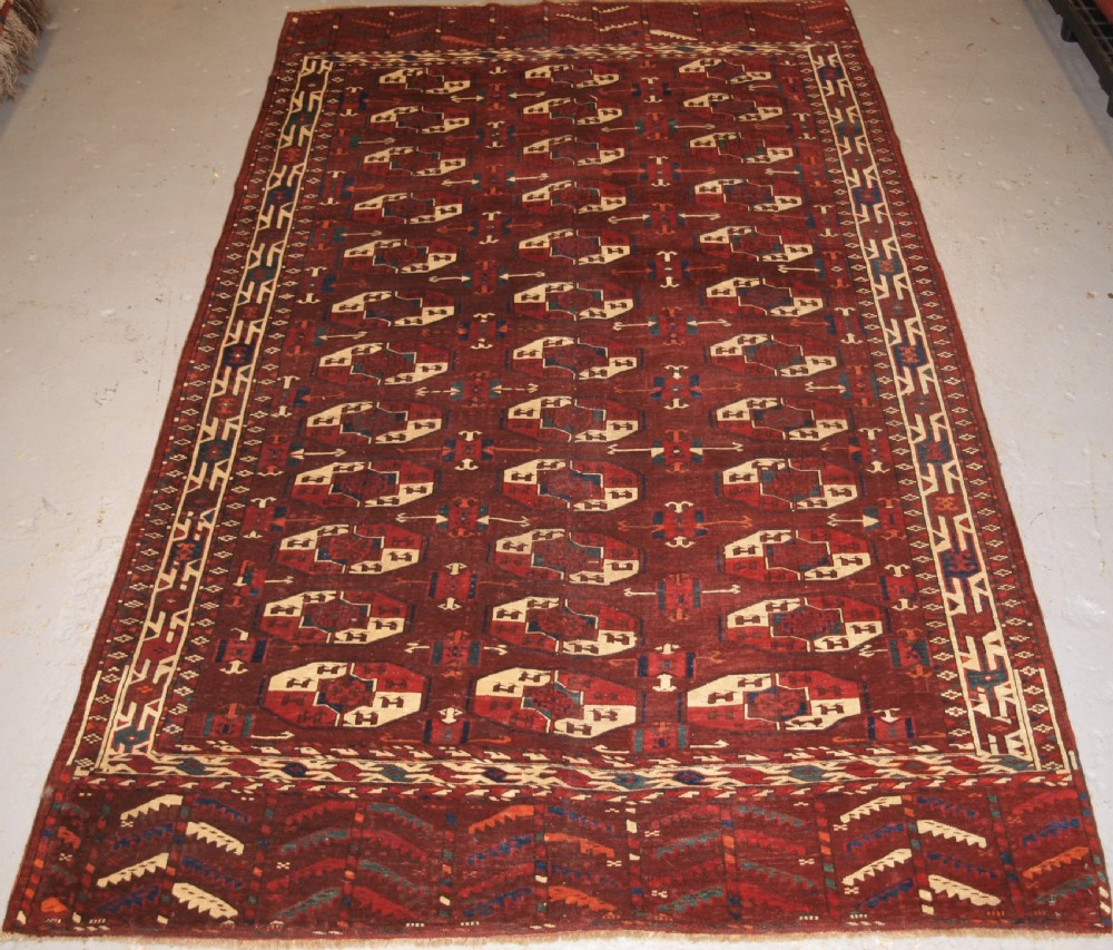 antique yomut turkmen main carpet igdyr tribe rare format outstanding condition 19th century