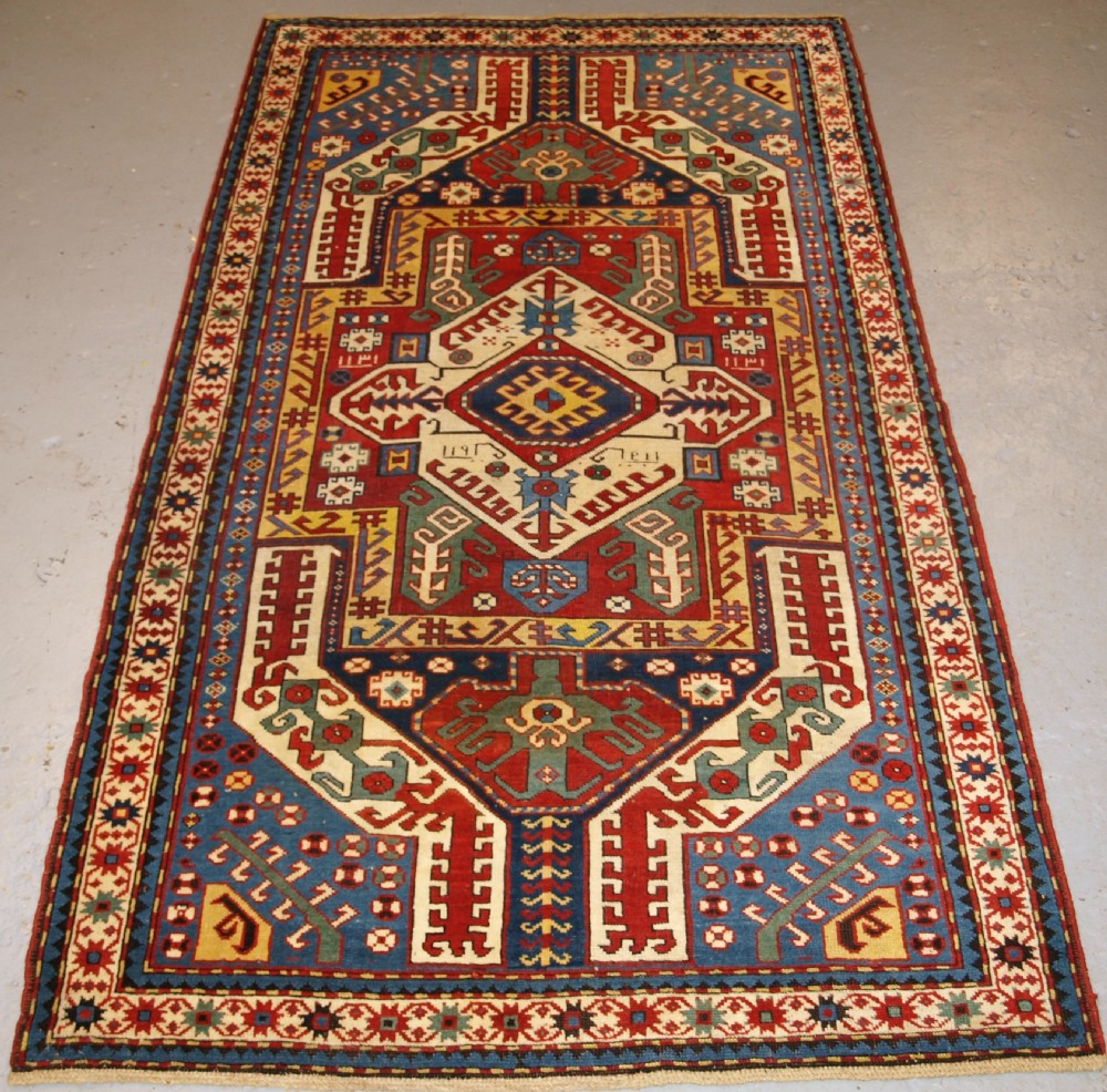 antique caucasian kasimusag rug classic design with superb colour dated 1893