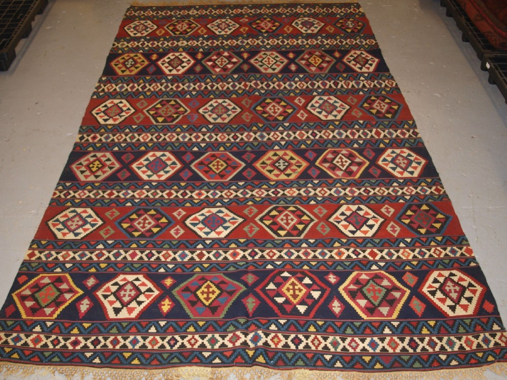antique caucasian shirvan banded kilim of large size late 19th century