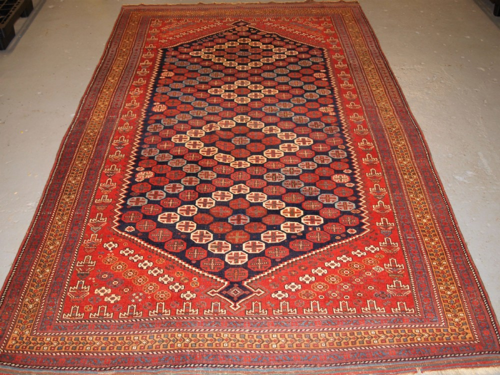 antique south persian afshar long rug excellent design and colour circa 1880