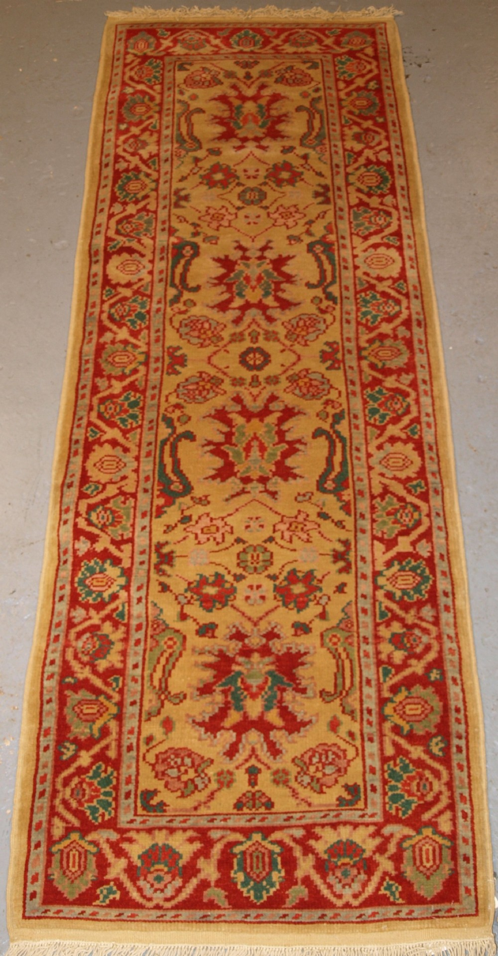 hand knotted turkish runner mahal design excellent soft wool about 20 years old