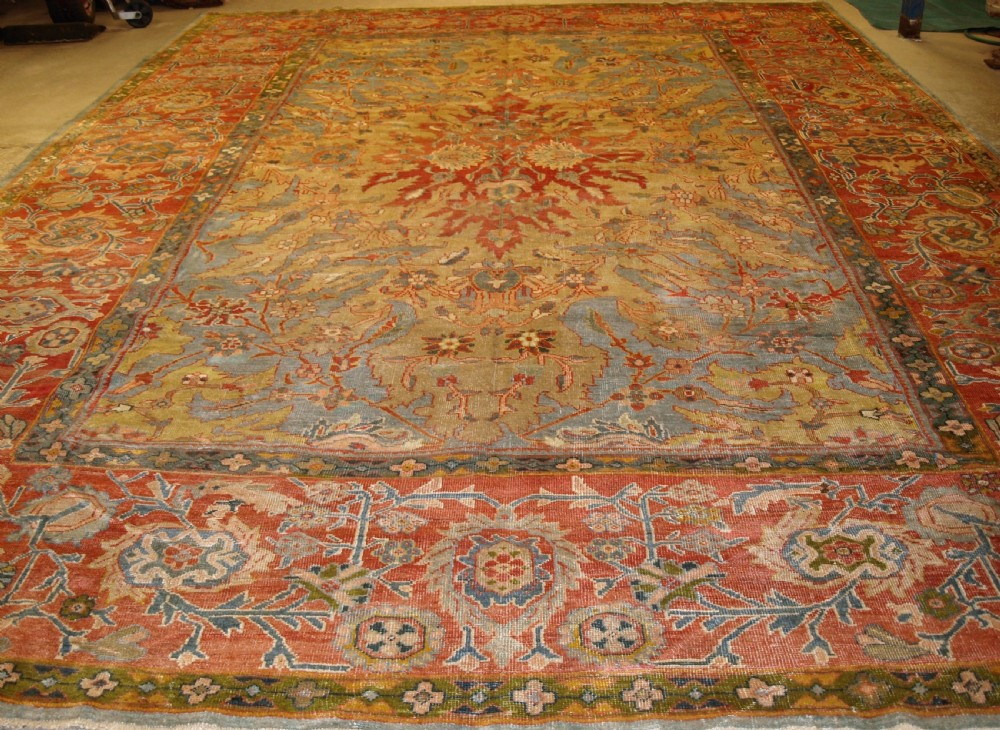 antique ziegler carpet with outstanding design and colour country house carpet circa 187080