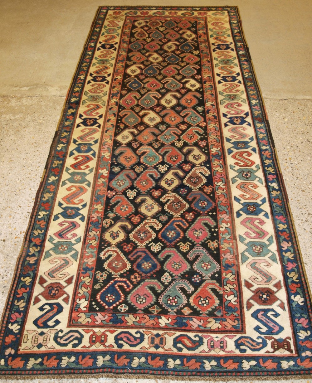 antique caucasian karabagh region runner colourful boteh design late 19th century