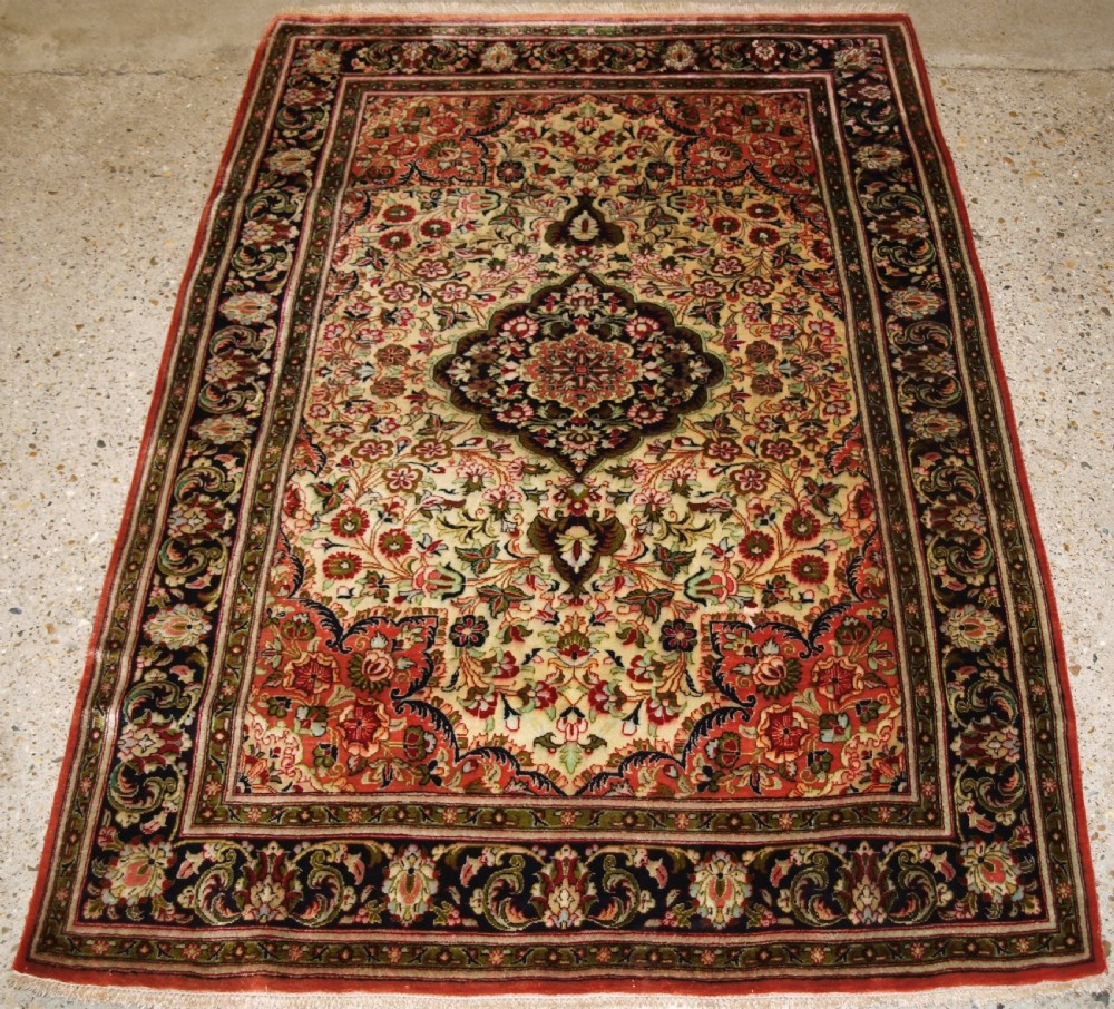 old qum silk rug excellent condition with soft colours circa 1950