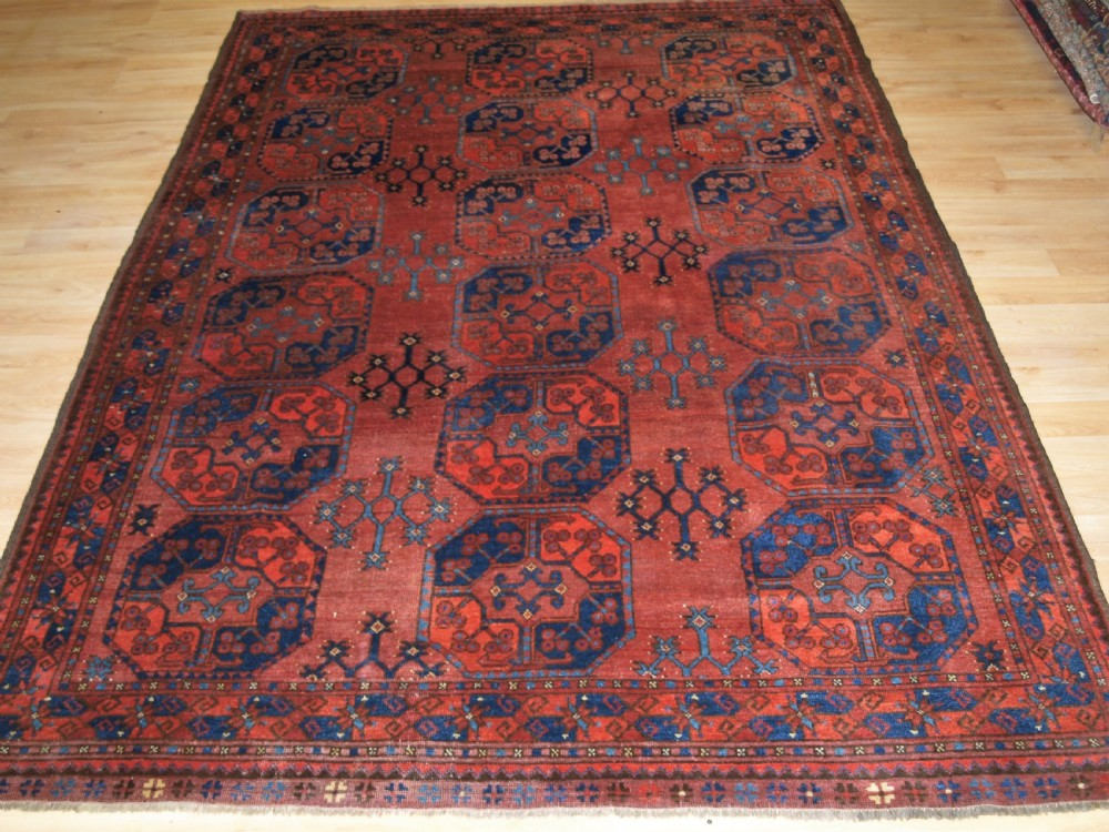antique ersari turkmen main carpet of small size with outstanding colour circa 1880