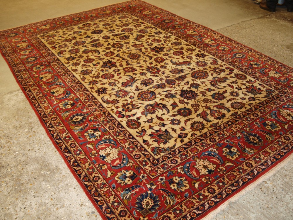 old persian isfahan carpet fine weave with traditional design circa 192030