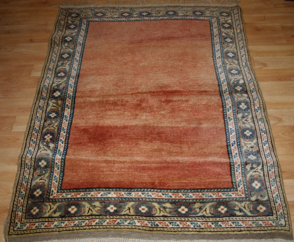 old turkish arisaman rug soft burnt orange field about 30 years old
