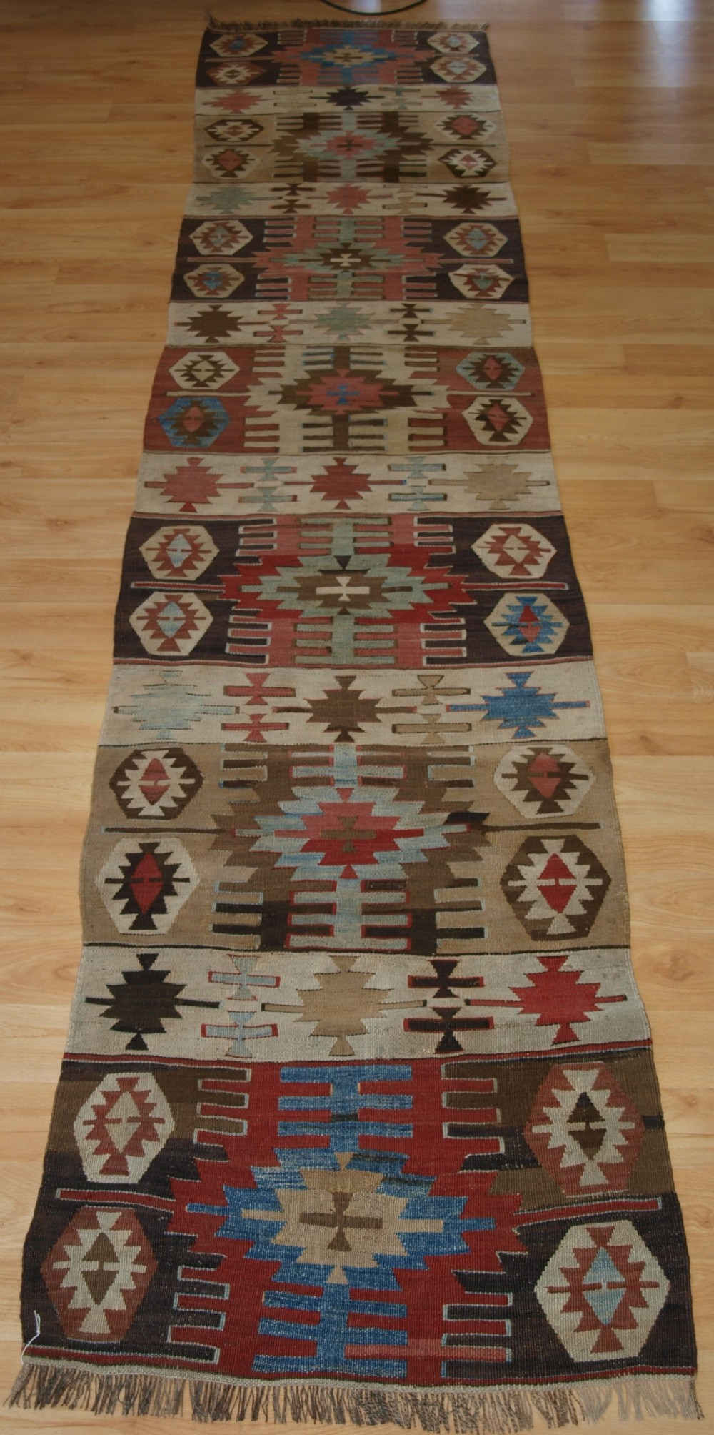 old turkish kilim runner with geometric design good colours circa 1920