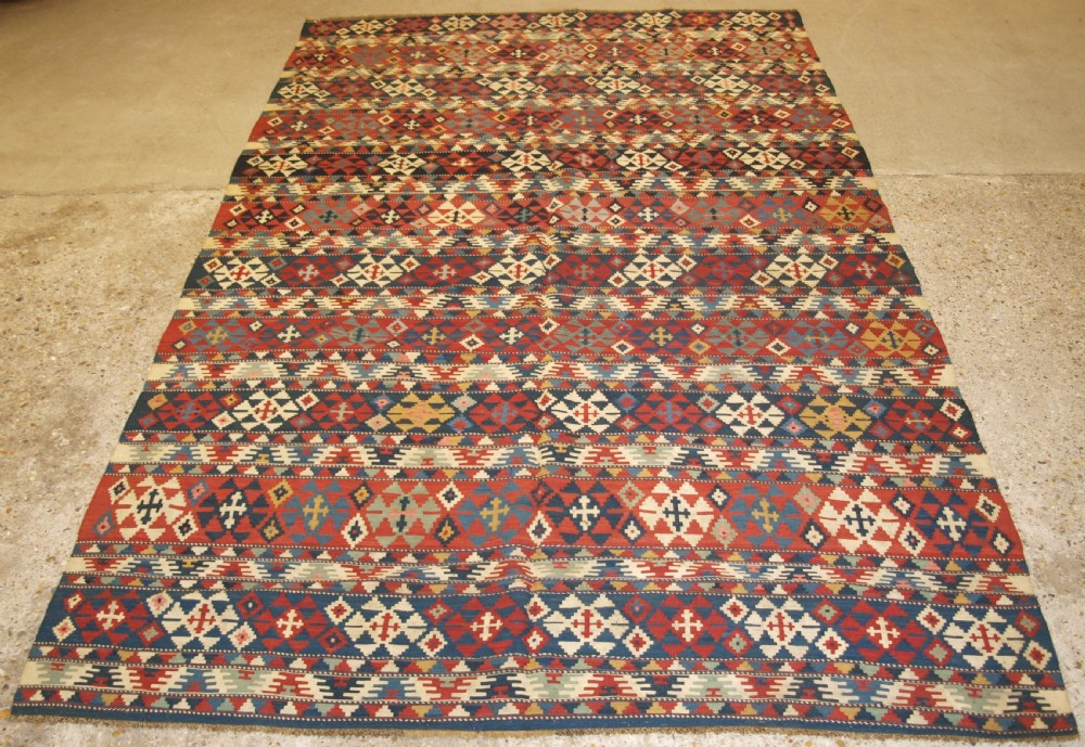 antique south caucasian shirvan banded kilim of fine weave circa 1880