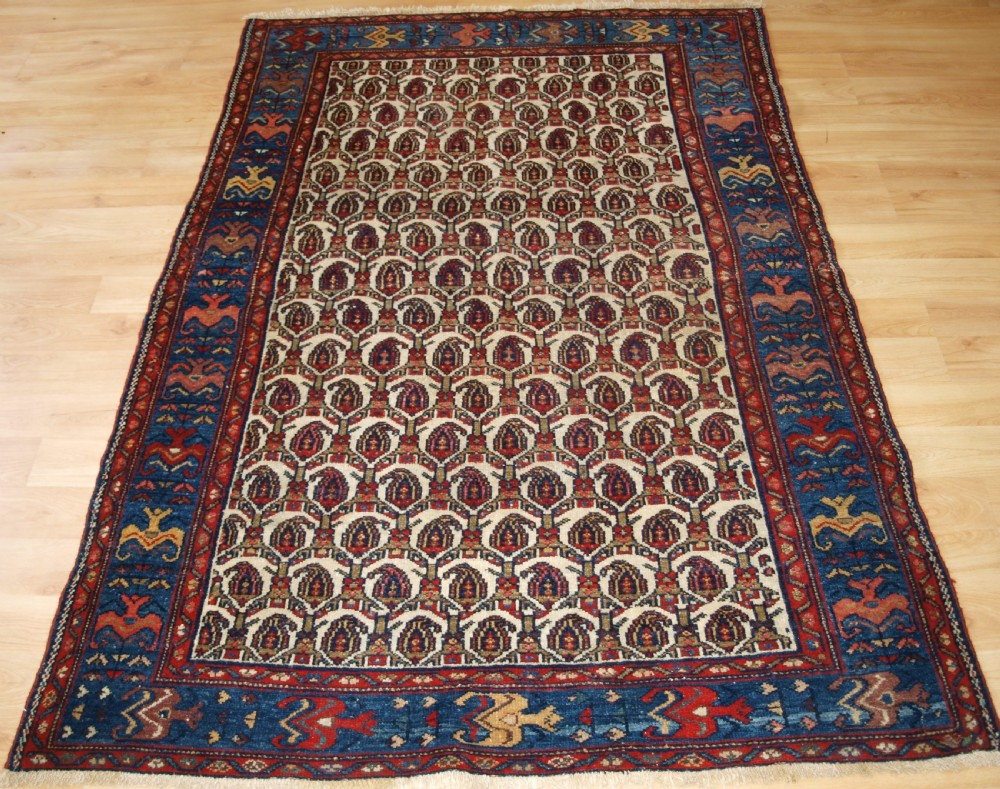 old hamadan region village rug circa 1920