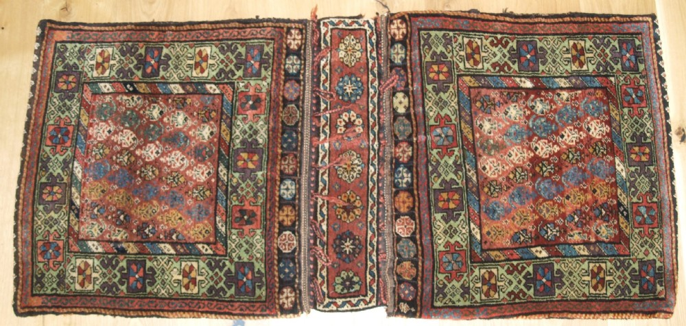 antique kurdish varamin region khorjin saddlebags great colour circa 1900
