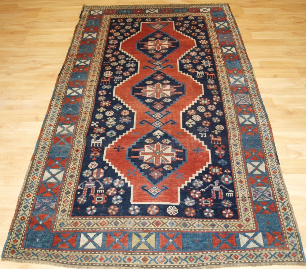 antique caucasian karabagh or armenian kazak rug people and animals circa 1900