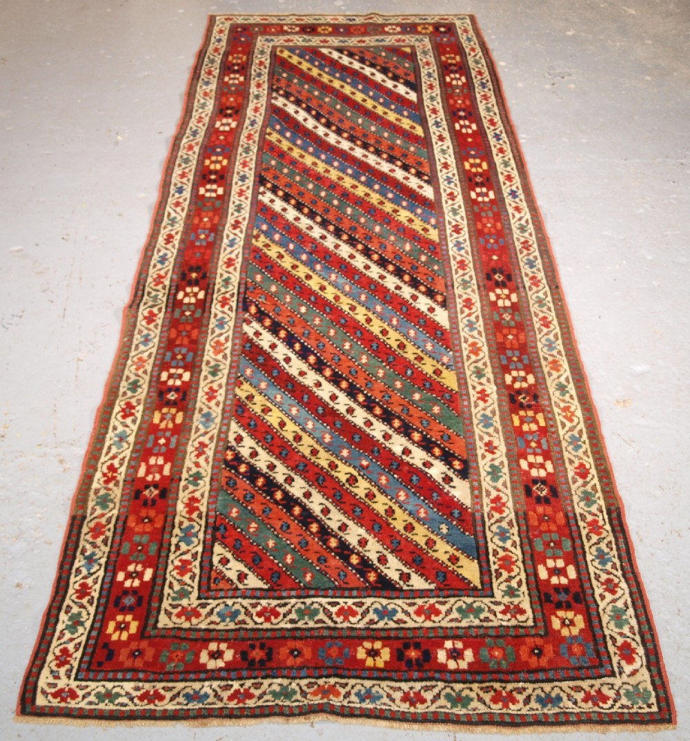 antique caucasian gendje kazak long rug runner with diagonal stripe design circa 1880