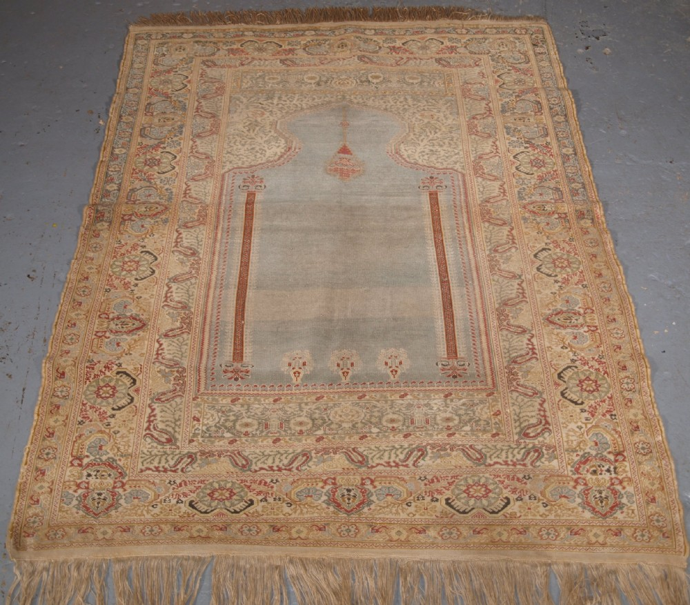 antique turkish ghiordes prayer rug light blue field circa 18251850