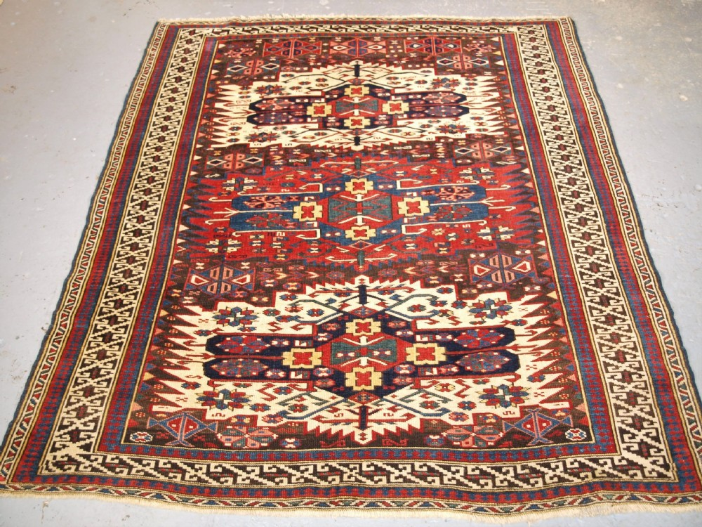 antique caucasian zejwa village rug of scarce design circa 1880