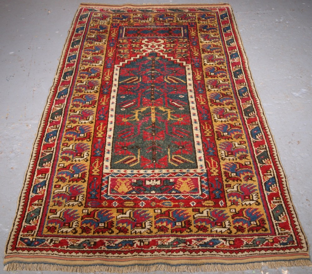 antique turkish izmir region prayer rug of scarce type circa 1890
