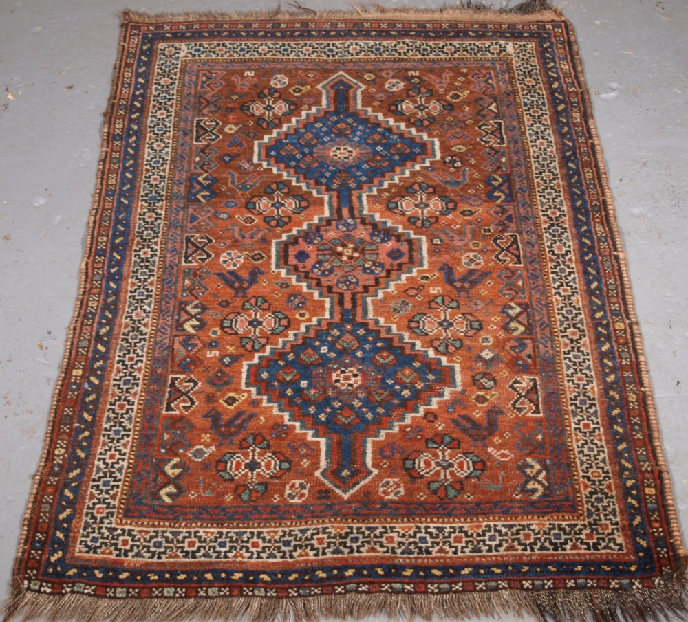 antique khamseh shiraz tribal rug of small size circa 1910