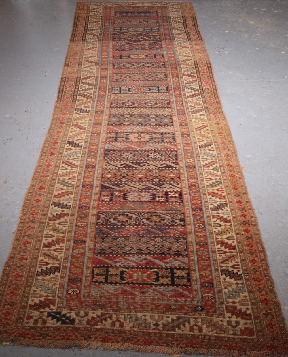 antique south caucasian kurdish runner of unusual design circa 1890