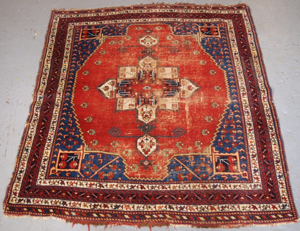 antique afshar tribal rug scarce design as found condition late 19th century