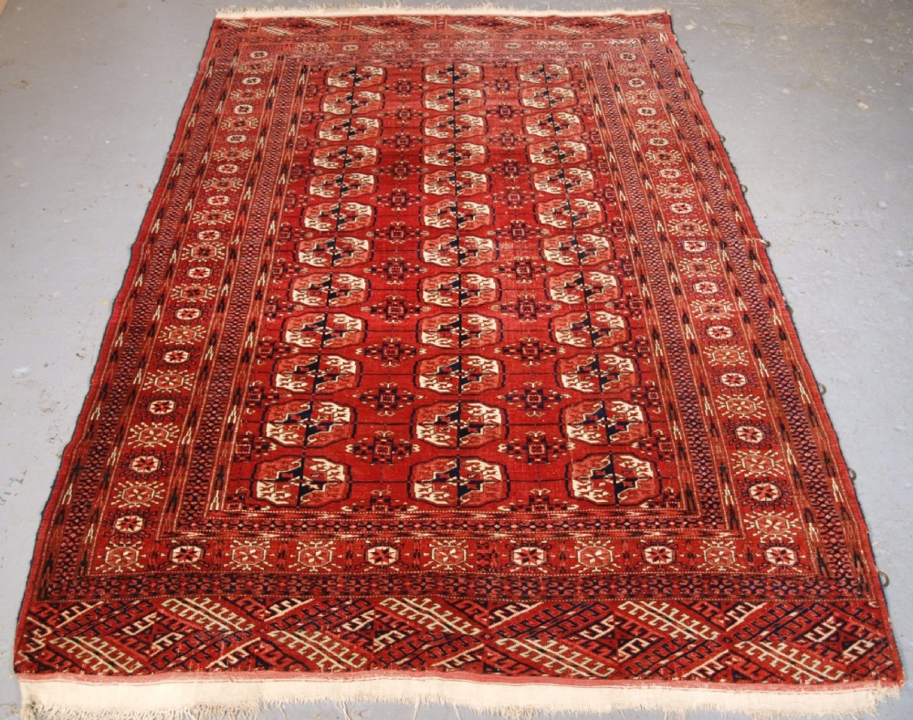 antique tekke turkmen rug soft red colour circa 1900
