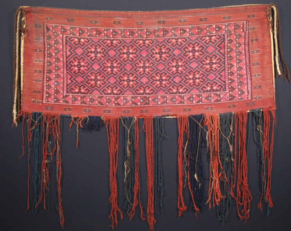 antique ersari turkmen embroidered torba with plain weave back circa 1900