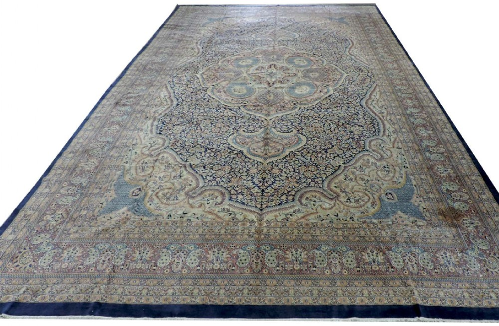 hand knotted indian amritsar carpet traditional design large size about 10 years old