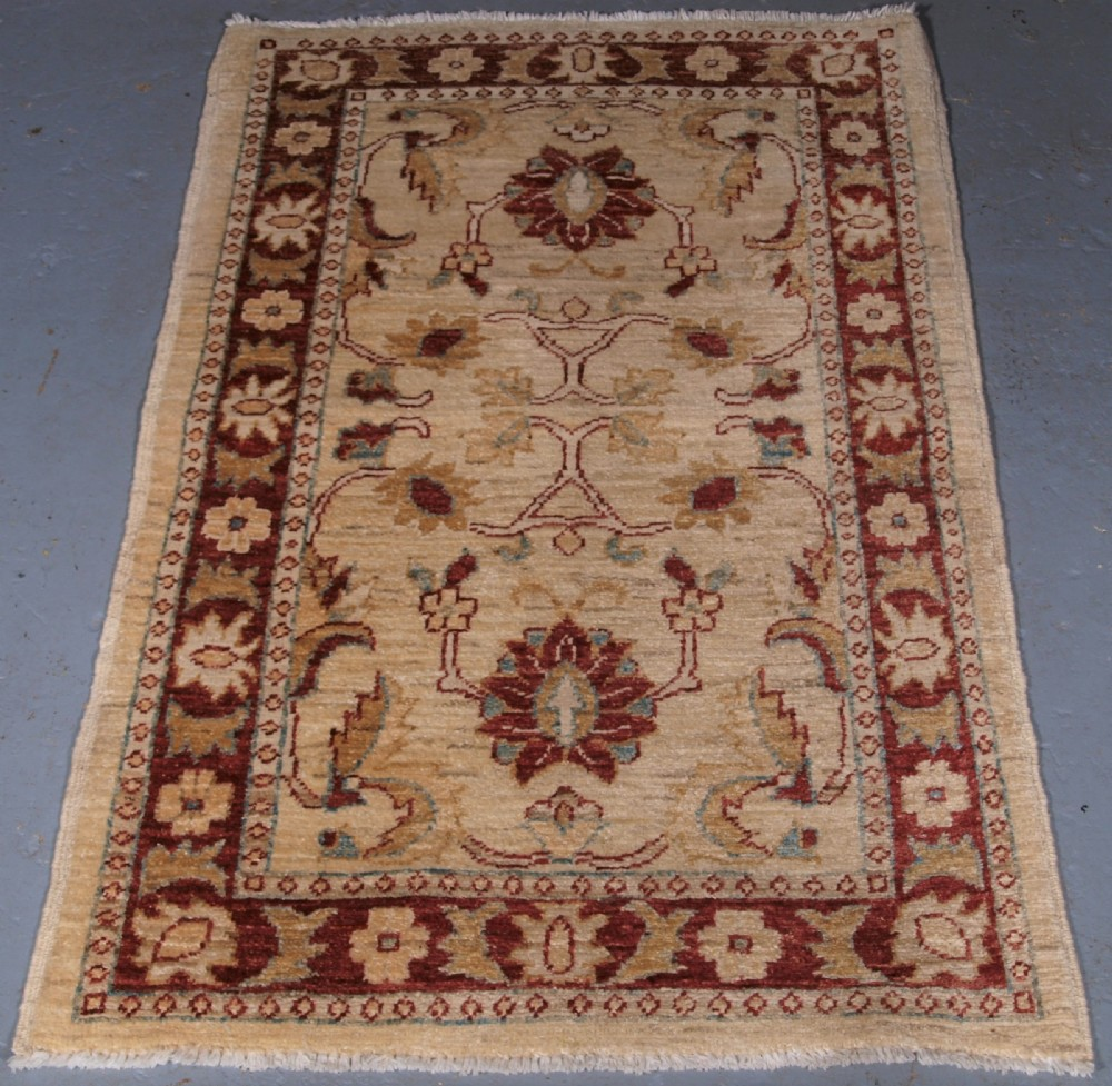 hand knotted afghan ziegler design rug small size perfect condition
