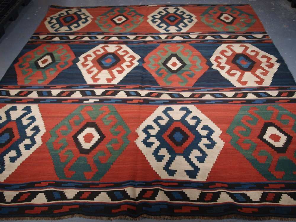 antique south caucasian shirvan banded kilim bold design circa 1900