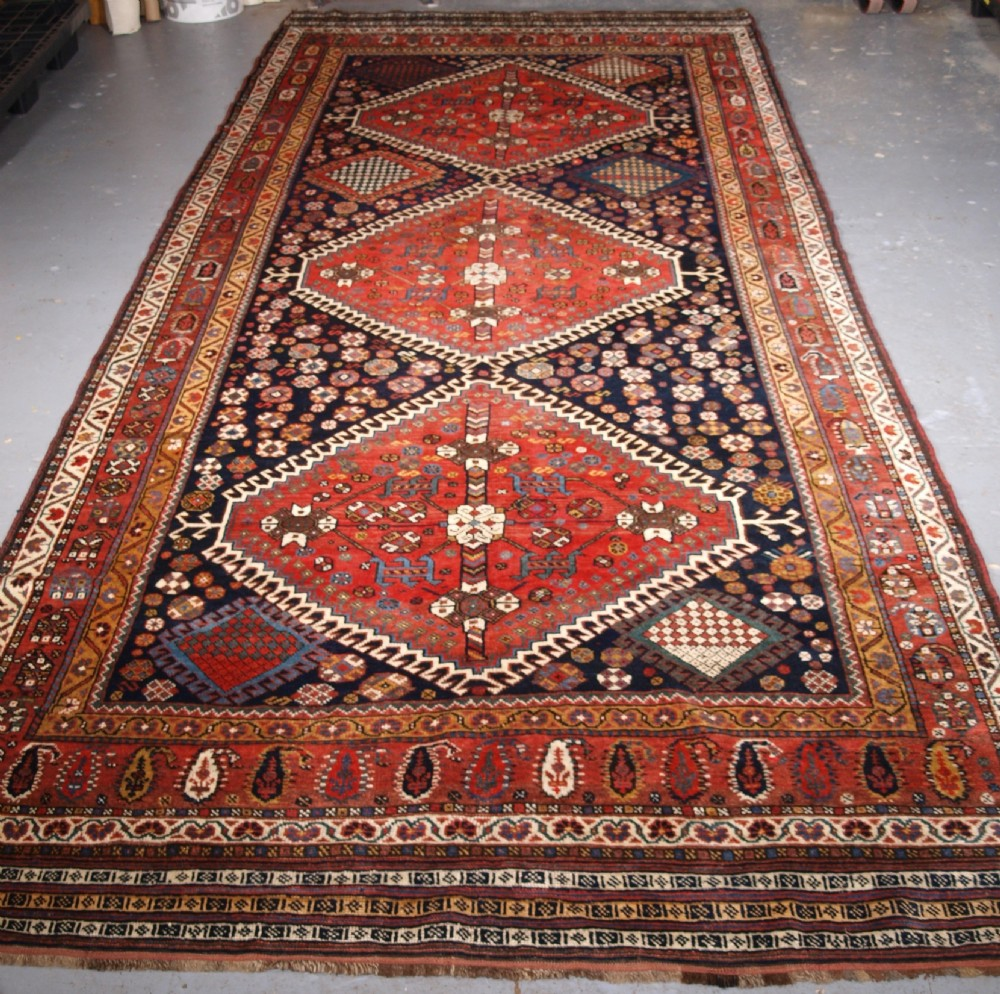 antique kelleh long rug by the luri tribe classic medallion design circa 1900