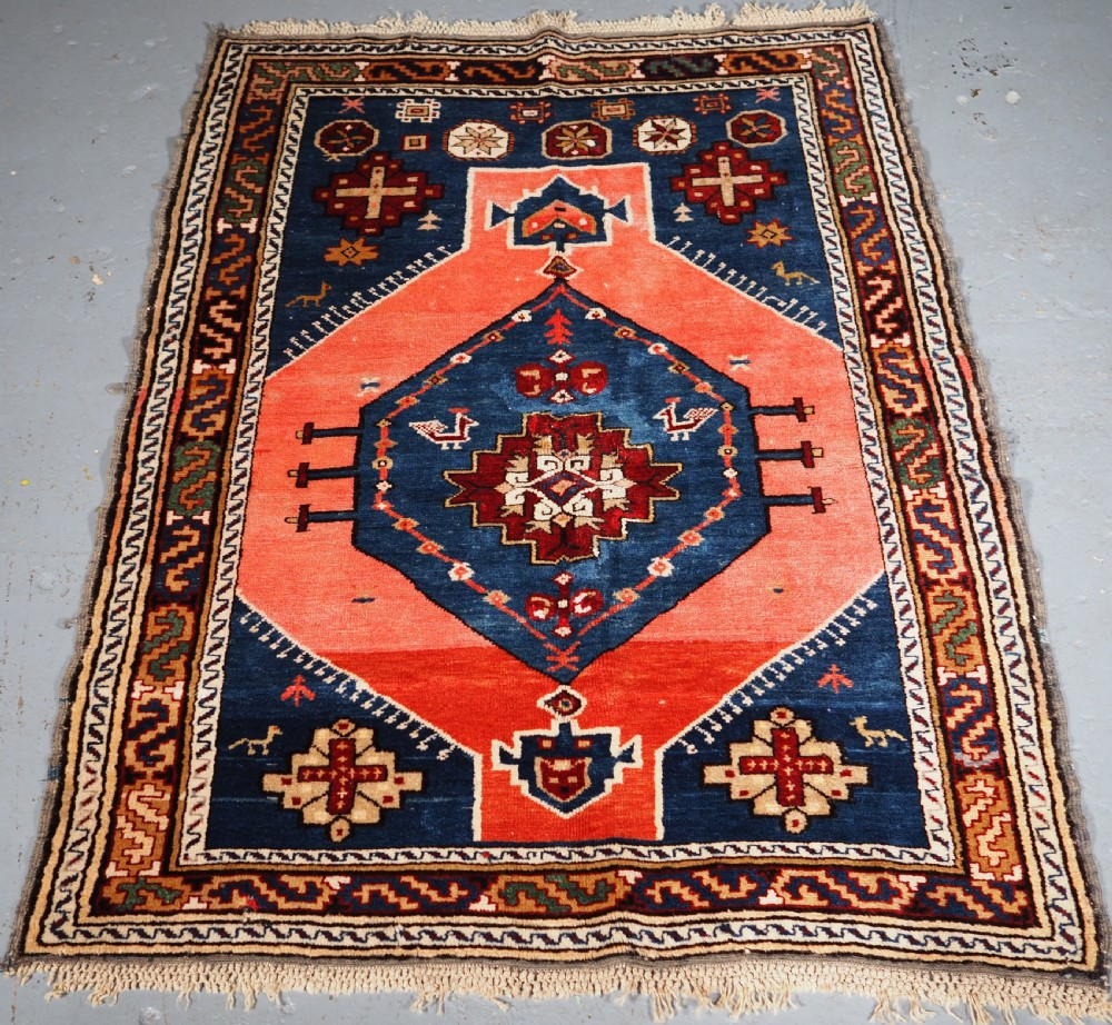 antique caucasian derbent rug single medallion circa 1900