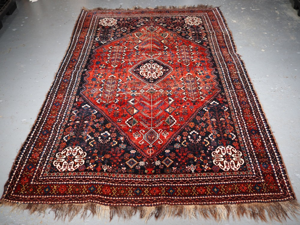 antique abedeh rug tribal design some heavy wear circa 190020