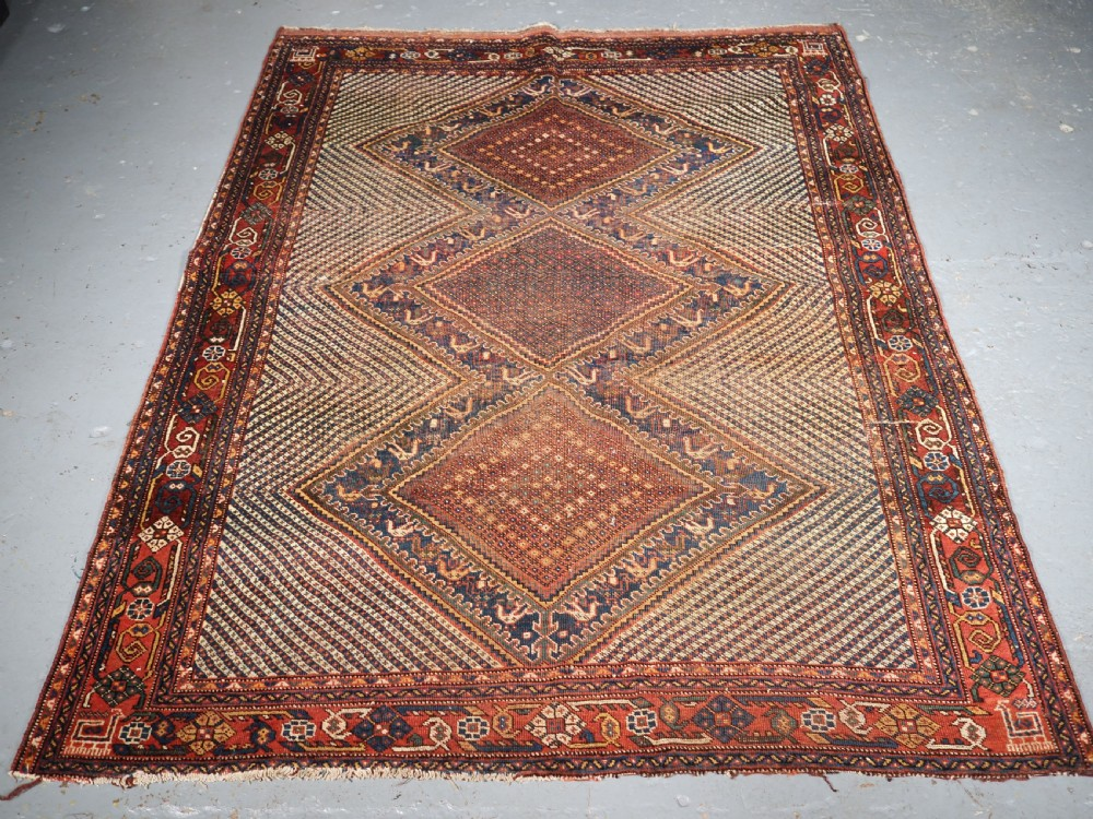 antique khamseh tribal rug triple medallion with birds circa 1900