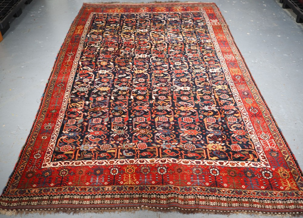 antique tribal khamseh rug with outstanding design and colour circa 1870