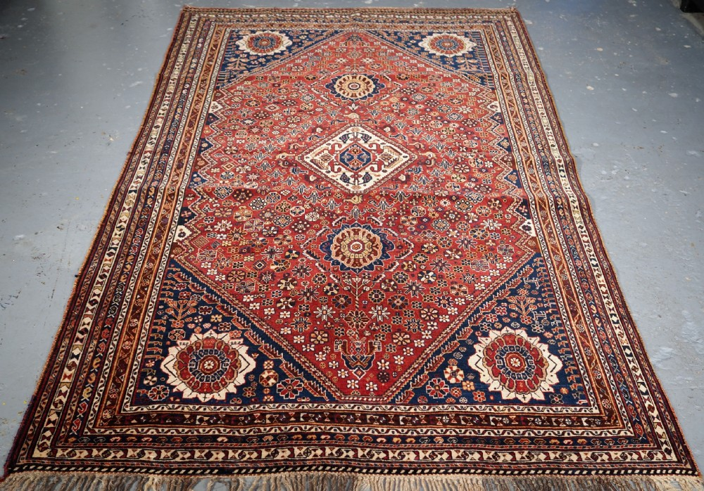 antique silk wefted tribal qashqai rug outstanding example circa 1890