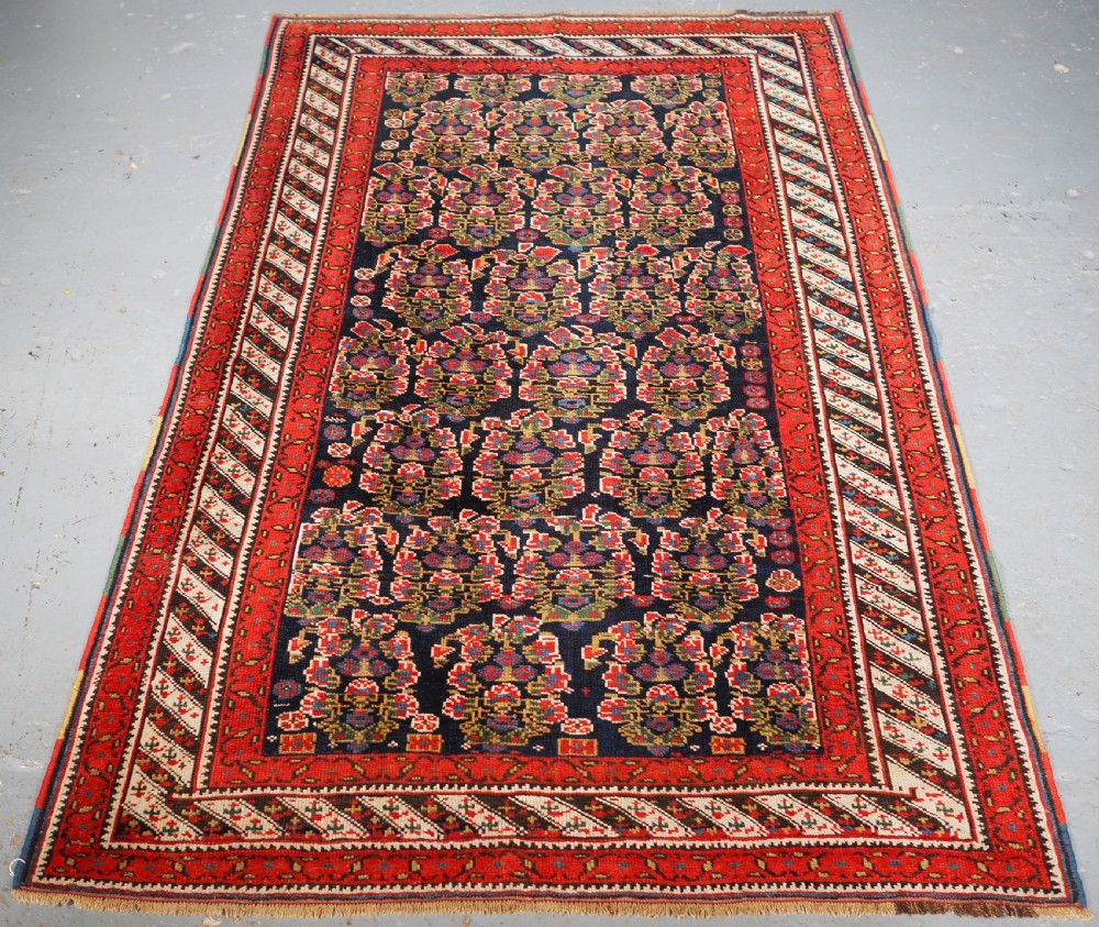 antique kurdish rug with all over large floral boteh design circa 1900