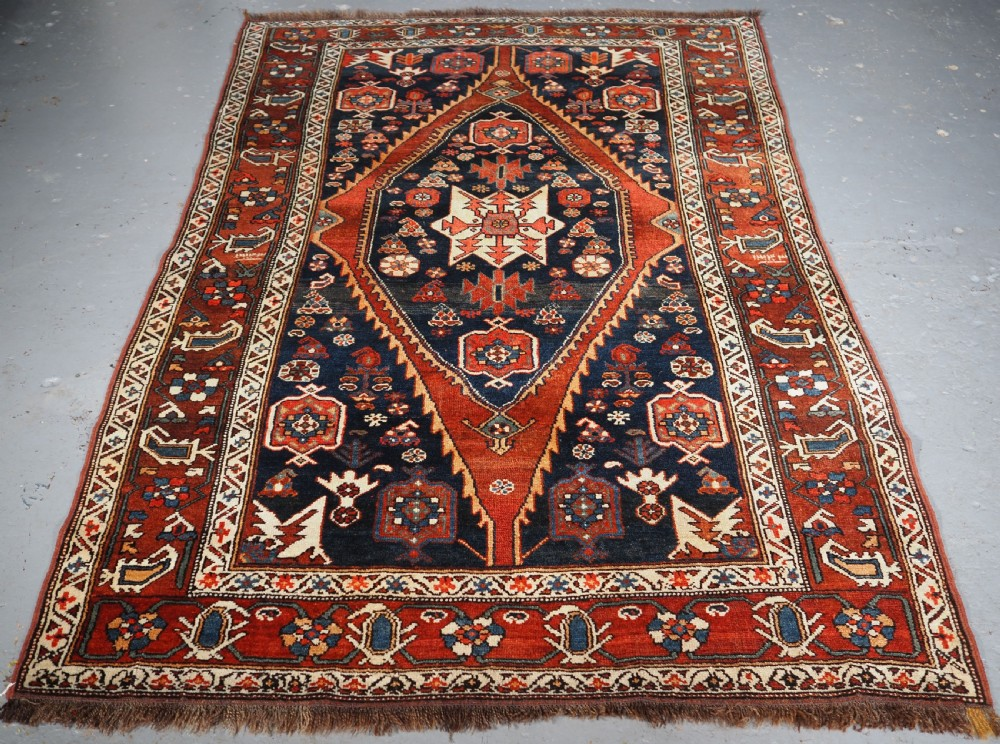 antique kurdish rug with single medallion design circa 1900