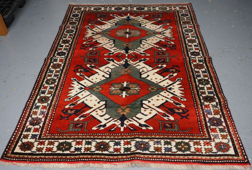 old caucasian eagle kazak rug superb furnishing item circa 192030